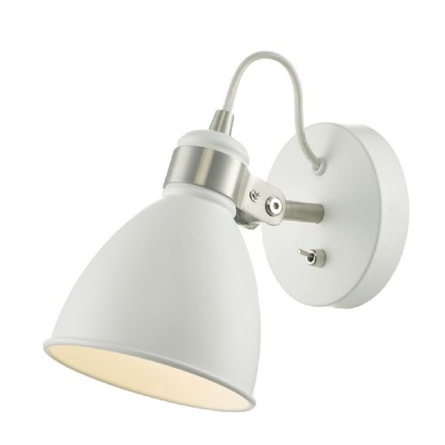 Frederick 1 Light Wall Light White / Satin Chrome